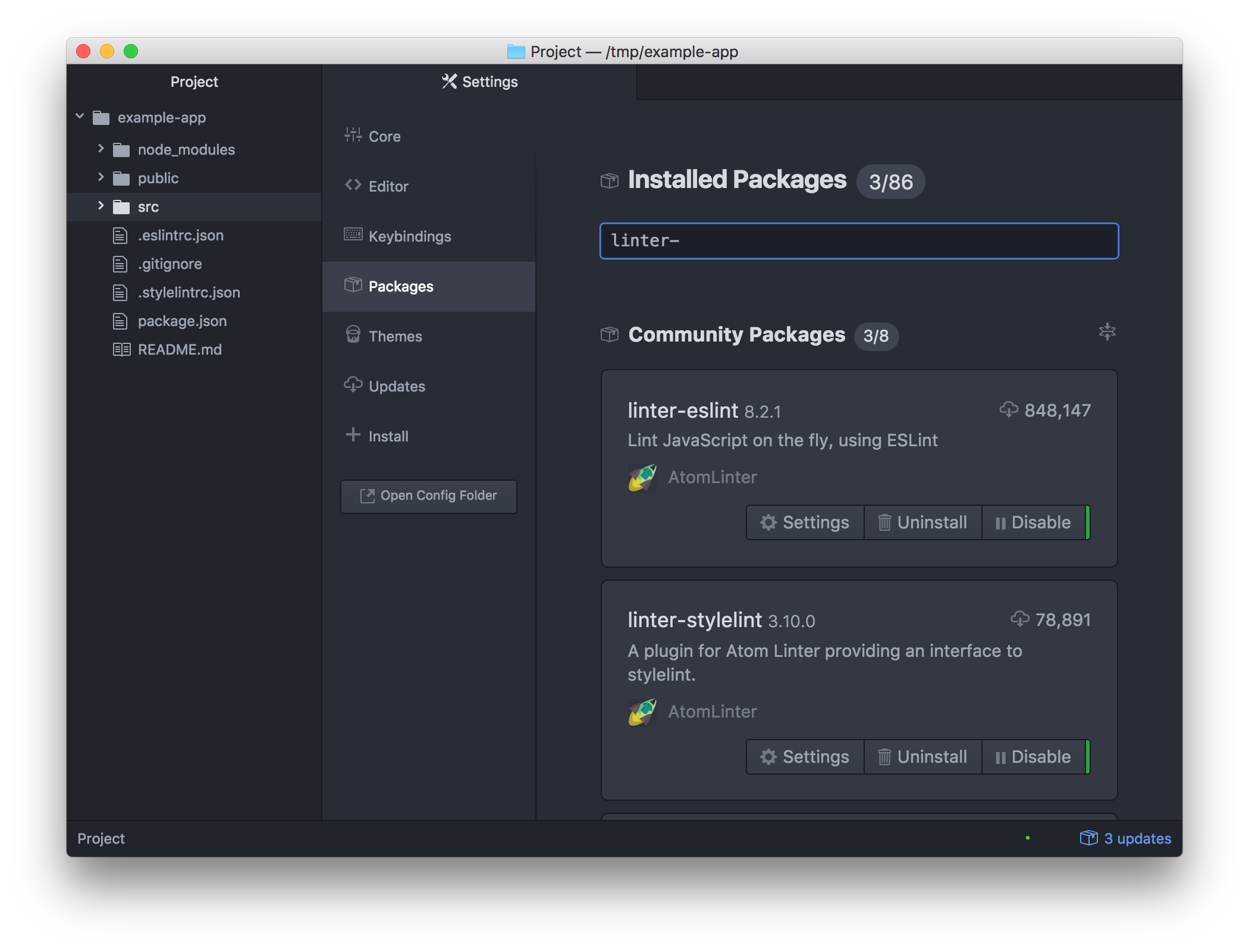 Linter packages in Atom